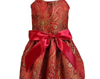 Red Brocade Satin