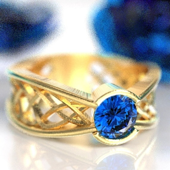 Celtic Sapphire Ring With Interweave Knot Pass Through Design in 10K 14K 18K Gold, Palladium or Platinum Made in Your Size CR-277b