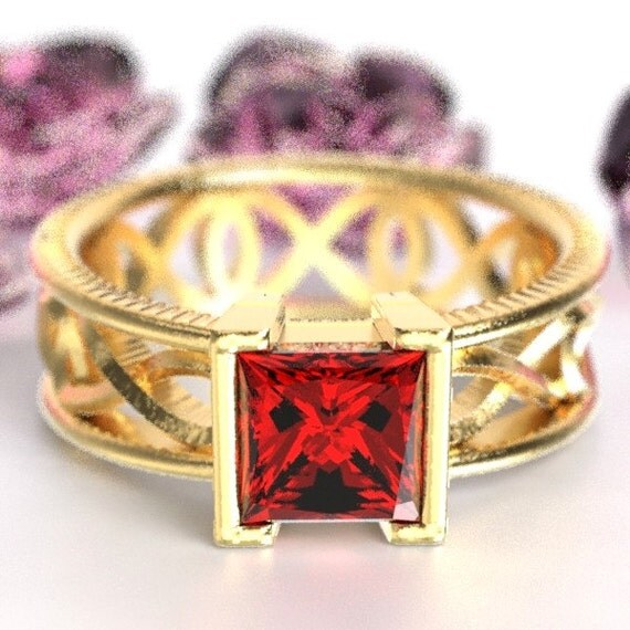 Gold Celtic Ruby Princess Cut Ring With Infinity Symbol Design in 10K 14K 18K or Palladium, Made in Your Size Cr-1028