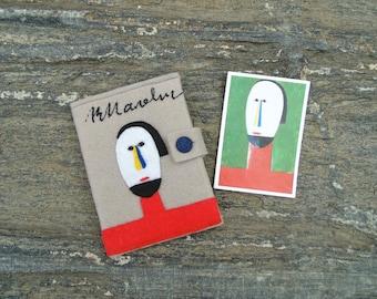 Passport Cover Hand Embroidered/ READY TO SHIP/ Passport Holder Malevich / Passport Vegan felt wallet/ Vegan Travel gift