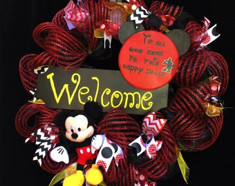 "Disney inspired ""To all who come to this happy place - welcome"" deco mesh wreath"