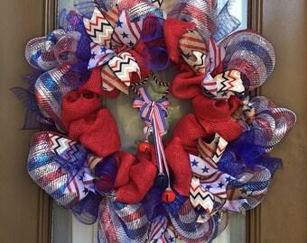 Patriotic deco mesh and burlap wreath