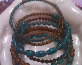 HUGE SALE Brown and Turquoise Glass Bead Long Wrap Bracelet