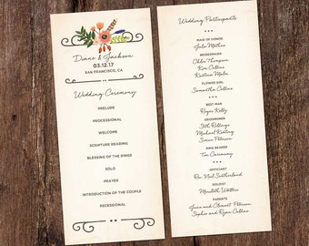 Woodland Floral Wedding Ceremony Program