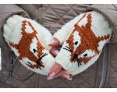 Fox Fingerless mittens , hand knit fox mittens ,  gloves, hand knit fingerless mittens, fingerless gloves,knit gloves