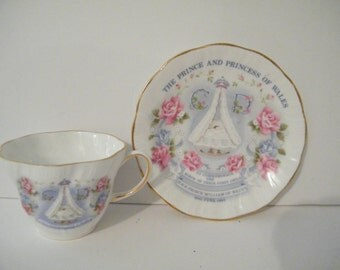 HRH Prince William of Wales, Vintage Royal Birth Commemorative Cup and Saucer Queens china, Charles and Diana first Born Collectible English