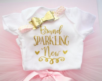 Newborn outfit, pink and gold, photo prop