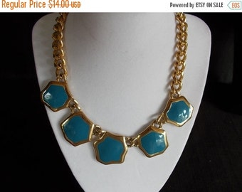 sale Vintage goldtone slate blue enamel choker necklace