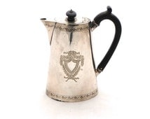 Antique Decorative Silver Plated Coffee Pot, WM & Co Silver Coffee Pot, Engraved Coffee Pot, Silver Teapot, Bakelite and Silver Coffee Pot