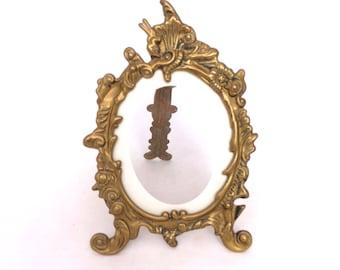 Vintage French Brass Photo Frame, Art Nouveau Picture Frame, Gold Photo Frame, Ornate Brass Picture Frame, Free Standing Photo Frame