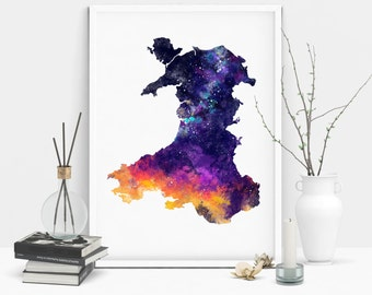 Wales Country Map Silhouette Outline Watercolour Galaxy Print