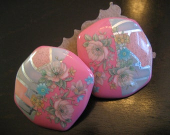 Gorgeous Vintage EARRINGS - Beautiful FLOWER DESIGNS in Pastel Colors of Pink, Blue and Silver - for Pierced Ears