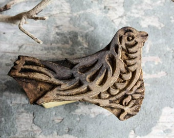 Hand Carved Indian Block Printing Stamp Wooden Block Bird for fabric and paper printing Sheesham Wood