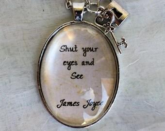 James Joyce jewellery, quote necklace, book lover gift