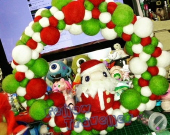 SALES - OOAK Wool Felted Christmas Wreath with Santa (Ready to ship) - Limited Edition
