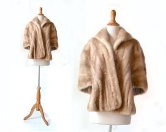 Vintage Mink, Blonde Mink, Mink Shrug, Mink Cape, Vintage Clothing, 1960s Mink, 60s Mink, Fur Shrug