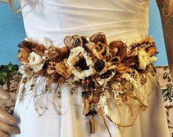 Rustic Wedding Belt-Sash,Handmade Fabric Flower Belt,Bride,Bridal,Rustic Weddings,Wedding Accessorie,Woodland,Country-Western,Burlap&Lace
