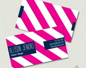 Hot Pink and Navy Printable Business Card, Striped Business Cards, Printable PDF, JPEG, Digital File, Cute Business Card, Girly, Preppy