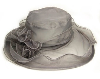 Beautiful Sheer Wide Brim Hat with detachable embellishment- Gray