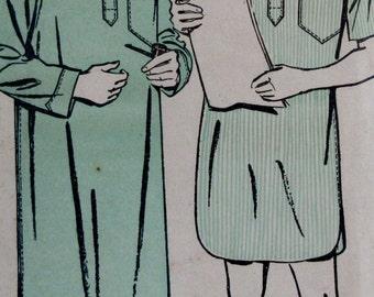 Vintage 1940s Advance Men's Nightshirt  / Sleepshirt Sewing Pattern #4184 Small Size 34- 36  Epsteam
