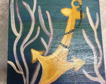 Jewelry Box Hand Painted Wooden , Original Key West Anchors Away