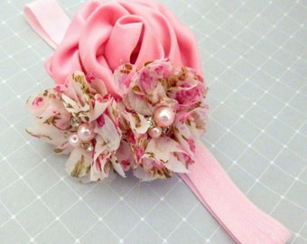Girl's Pink and White Pearls & Shabby Flower Headband with Pink Elastic Headband