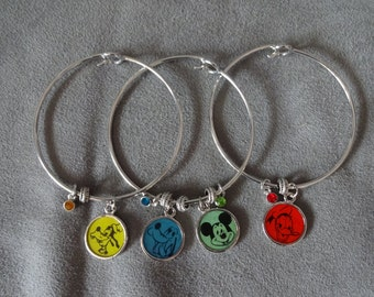 Set of 3 Bangles Featuring Vintage 1960's Disney Playing Card Artwork of Mickey Mouse, Pluto, Goofy & Donald Duck