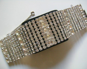 """WEISS Luscious Sparkling Ice 5 10 Rows Cushion Radiant & Round Cut Chaton Rhinestones Galore Almost 2"""" Wide To Die For Silver Tone Bracelet"""