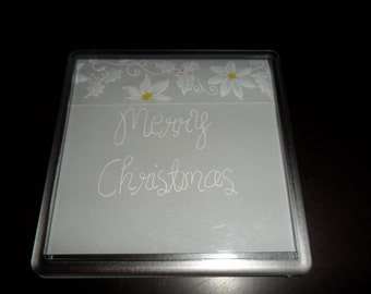 Beautiful handmade parchment craft coasters,personalised, Christmas, poinsetta, holly, gift,