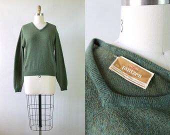 RESERVED // Vintage 1950s Jantzen Sweater / 50s Forest Green Wool Sweater / Wintergreen Sweater