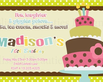 Birthday Cake Birthday Invitation