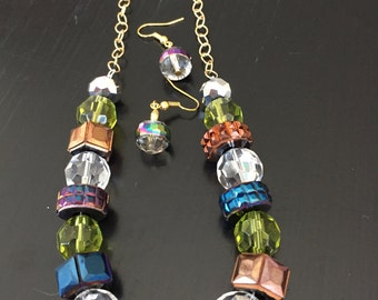 FUN Bold Glass Necklace with Matching earring set