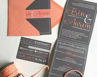 All-N-One wedding Invitation | Coral Script | Tri-fold with attached RSVP | Deposit to get started