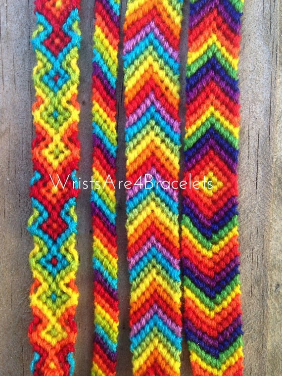 Items similar to Pastel and Bright Rainbow Friendship Bracelets