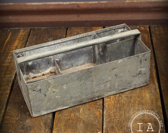 Vintage Rustic Metal Tool Box Caddy