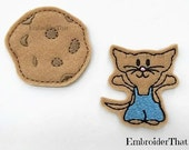 UNCUT Mouse and chocolate Chip Cookie applique embellishment felties hair bow center 2)