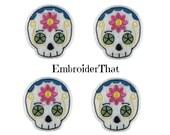 UNCUT  Sugar Skull machine embroidered felt applique embellishment felties (4)
