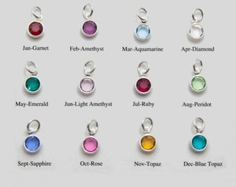 Silver Plated Birthstone Channel Charms 6mm | Channel Charm  | Birthstone Charm |