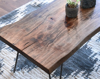 Rustic Reclaimed Live Edge Slab Coffee Table
