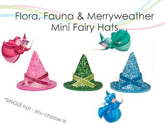 Flora Fauna and Merryweather MINI Fairy Hats Sleeping Beauty Good Fairies Mini Size Hats SINGLE