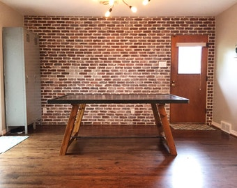 Industrial Steel Top Dining Table