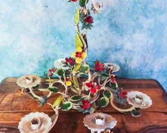 Beautiful Vintage Chippy Cottage Italian Tole Floral Candle Holder Chandelier