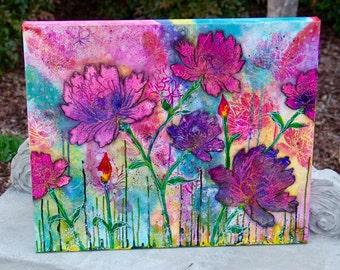 "Peony Flower Field Original Mixed Media Painting, ""Flourishing"" Watercolor, 20x24, Canvas Art"
