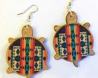 Wooden Pendleton inspired turtle earrings