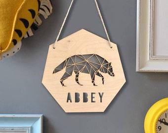 Personalised Geometric Wolf Sign - Woodland Nursery - Geometric Animal Art - Gift for Toddler - Nursery Decor - Personalised Artwork -