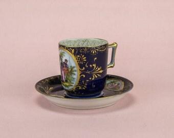 Antique Austrian Blue China Figures TEA SET Saucer Cup Victorian 19th Century Royal Vienna Coffee Spectacular LS