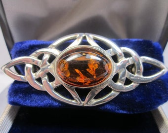 Baltic Amber Cabochon on Sterling silver Collar Pin / Brooch.