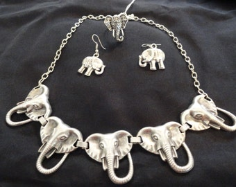 Elephant Necklace, Earrings and Ring