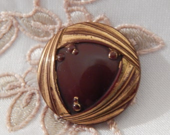 Gold Luster on a Chocolate Brown Victorian Glass Button