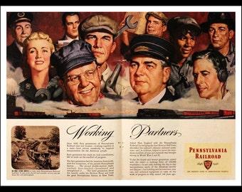 1946 Pennsylvania Railroad Ad w Portraits - Wall Art - Home Decor - Rail - Train - Conductor - Engineer - Retro Vintage Travel Advertising